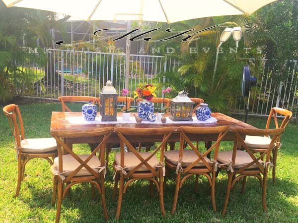 farm table rustic table mk music and events event rentals in miami rh mkmusicandevents com wedding furniture rental miami wedding furniture rental miami