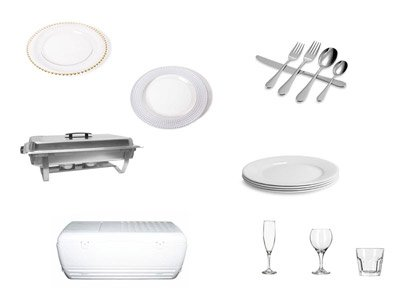 CHARGERS, SILVERWARE, GLASSWARE